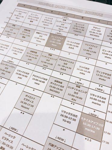 ホットヨガ教室「カルド」の難易度ごとに細かくわかれたクラス(プログラム)の表